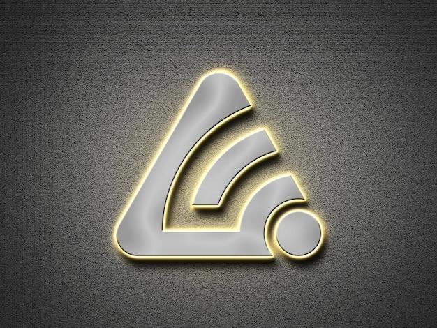 3d-model met zilveren licht neon-logo