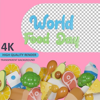 3d-model weergave wereldvoedseldag en diverse stapels voedsel