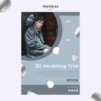 3d-modellering cursus poster sjabloon Gratis Psd