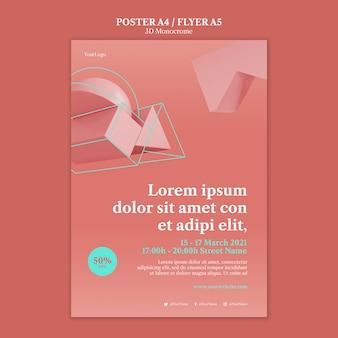 3d-monochrome vormen poster sjabloon Premium Psd
