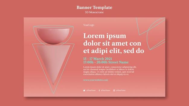 3d-monochrome vormen sjabloon voor spandoek Premium Psd