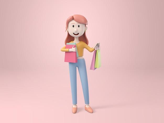 3d, mujer bonita joven con bolsa de compras en la mano