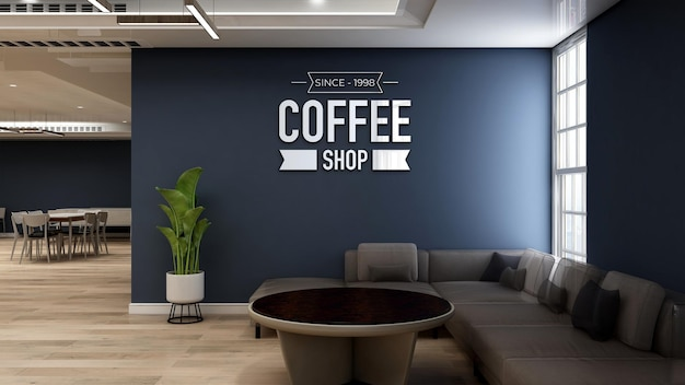 3d-muurlogomodel in coffeeshop met bank