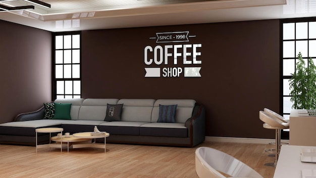 3d-muurlogomodel in de coffeeshop met bank