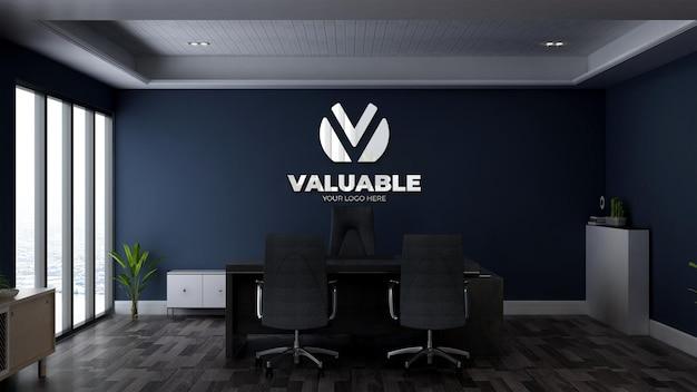 3d-muurlogomodel in de kamer van de bedrijfsmanager op kantoor