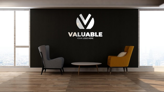 3d-muurlogomodel in de wachtkamer van de kantoorlobby met twee stoelen om te ontspannen