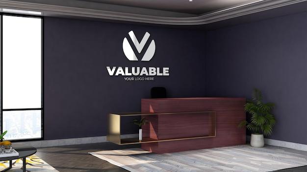 3d-muurlogomodel in de wachtkamer van de kantoorlobby