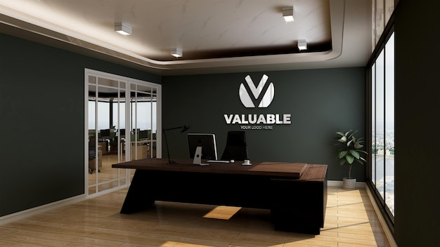 3d-muurlogomodel in realistische render office manager room