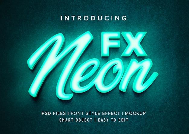3d neon lettertype stijl effect mockup