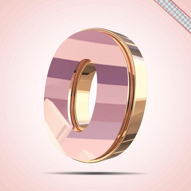 3d-nummer 0 goud met roze stijl