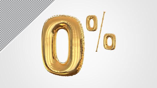 3d-nummer 0 procent ballon gouden