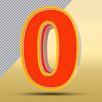 3d-nummer 0 stijl kleur oranje png