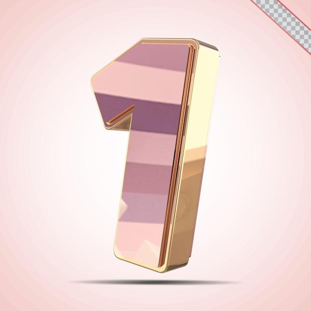 3d nummer 1 goud met roze stijl