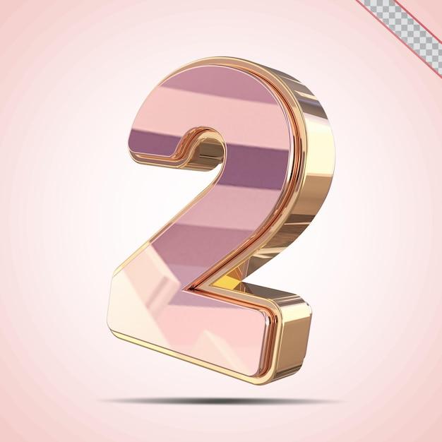 3d nummer 2 goud met roze stijl