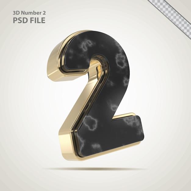 3d nummer 2 gouden met stenen stijl