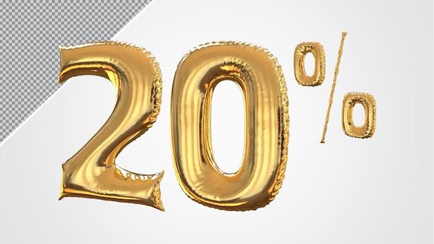 3d-nummer 20 procent ballon gouden