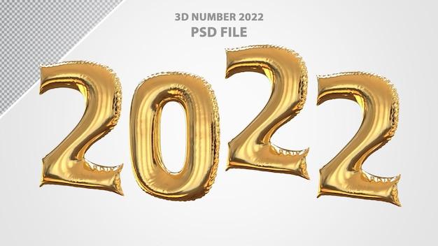 3d-nummer 2022 ballon gouden