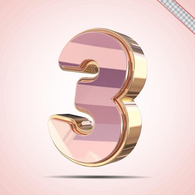 3d nummer 3 goud met roze stijl