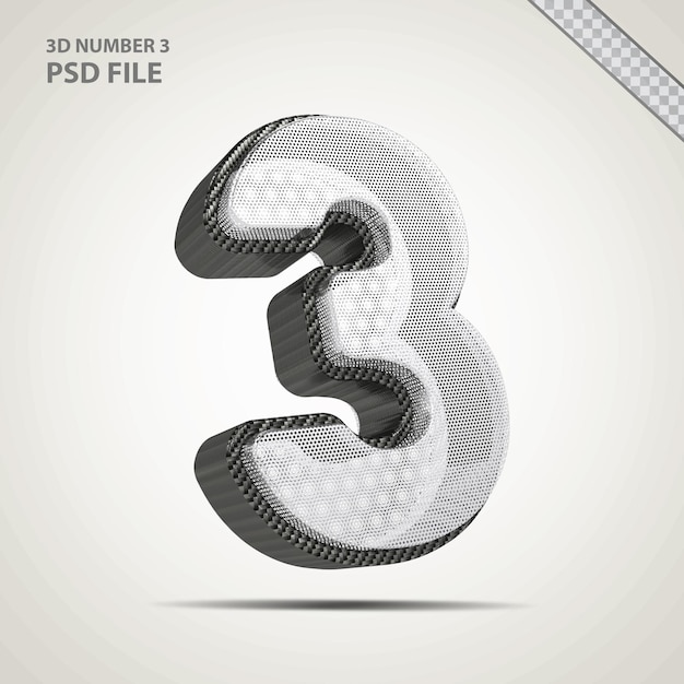 3d-nummer 3 met creatieve zwarte stijl