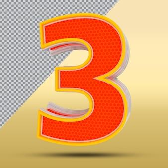 3d nummer 3 stijl kleur oranje png