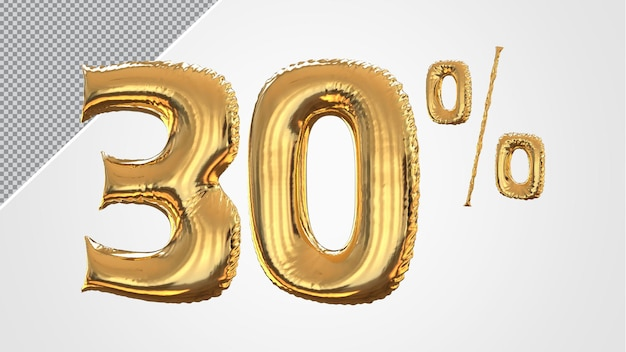 3d-nummer 30 procent ballon gouden