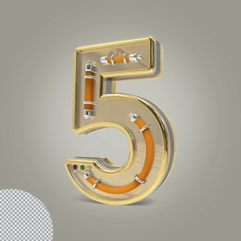 3d nummer 5 gouden illustraties