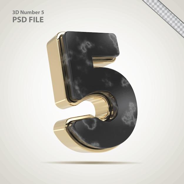 3d nummer 5 gouden met stenen stijl