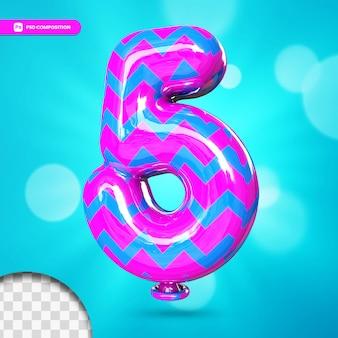 3d-nummer 5 heliumfolieballon