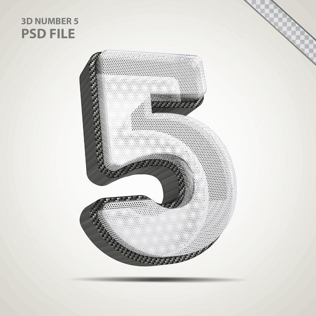 3d-nummer 5 met creatieve zwarte stijl