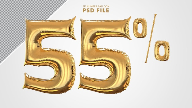 3d-nummer 55 procent ballon gouden