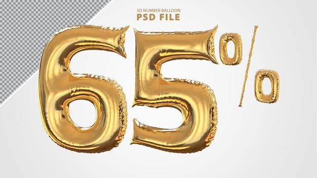 3d-nummer 65 procent ballon gouden