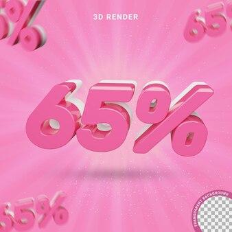 3d-nummer 65 procent roze kleur modern teksteffect