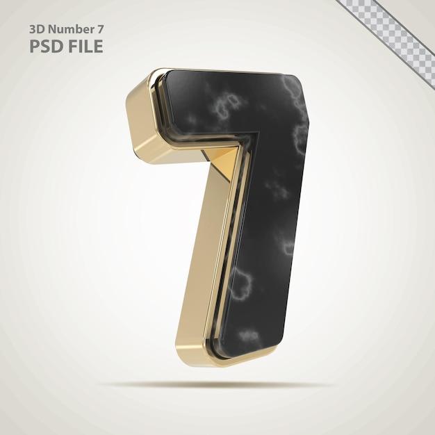 3d-nummer 7 gouden met stenen stijl
