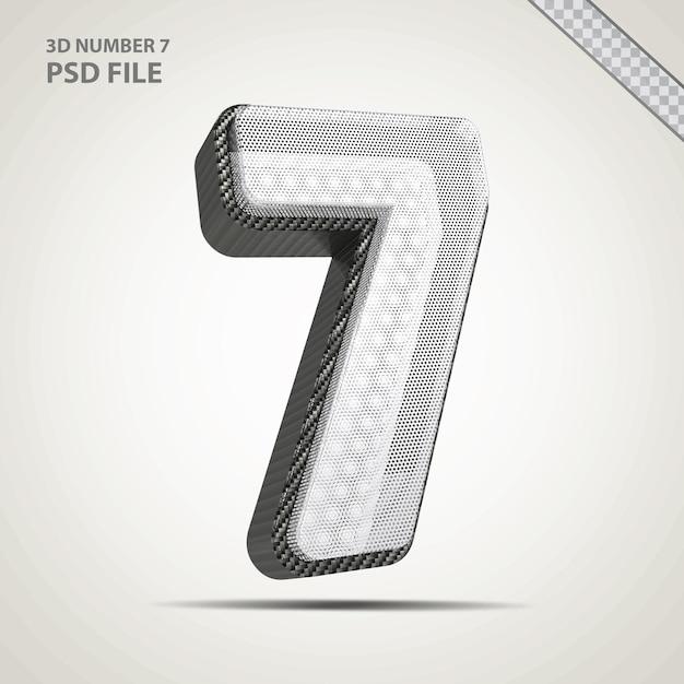 3d-nummer 7 zwart