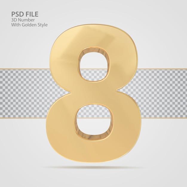 3d-nummer 8 met gouden stijl render luxe