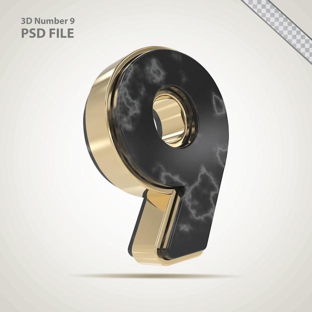 3d-nummer 9 gouden met stenen stijl