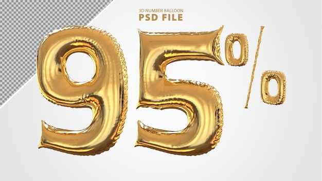 3d-nummer 95 procent ballon gouden