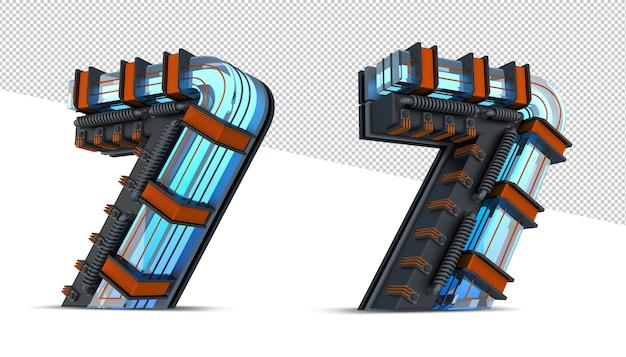 3d nummer blauw neonlicht met koperdraad