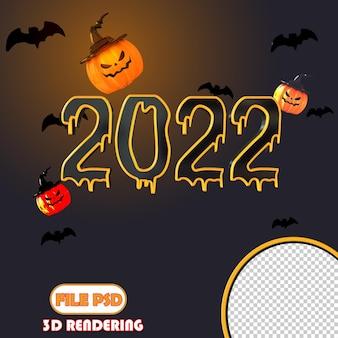 3d-nummer halloween 2022 gelukkig nieuwjaar