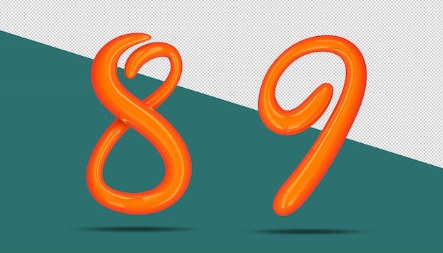 3d-nummer kalligrafie stijl