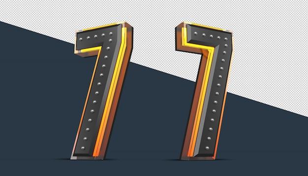3d-nummer met spelddecoratie en neonlichteffect