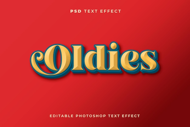 3d oldies teksteffectsjabloon met vintage stijl