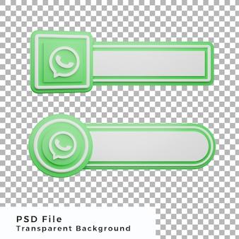 3d onderste derde whatsapp-logo sociale media pictogrambundel verschillende vormen van hoge kwaliteit