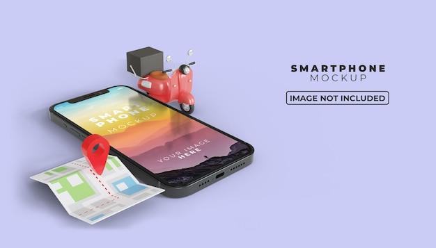 3d online levering op mobiel met mockup van het smartphonescherm