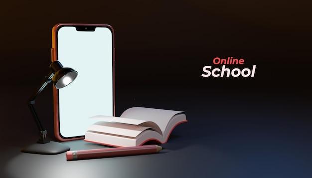3d online schoolonderwijs met smartphone