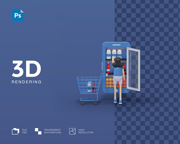 3d online supermarkt illustratie