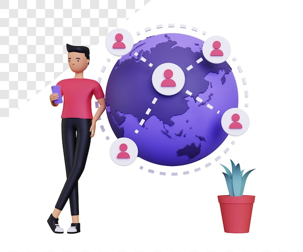 3d online verbinding met wereldbol en mannelijk personage