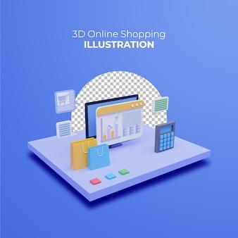 3d online winkelconcept met computer en pictogrammen op blauwe achtergrond