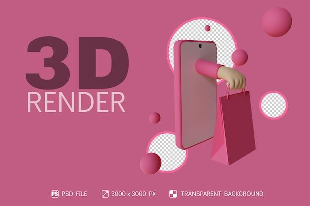 3d online winkelen ontwerp met telefoon, hand en boodschappentas geïsoleerde achtergrond