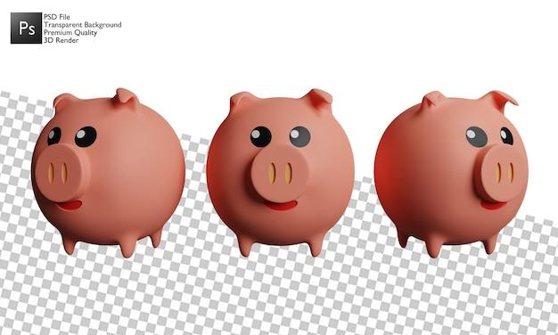 3d ontwerp van de drie varkensillustratie